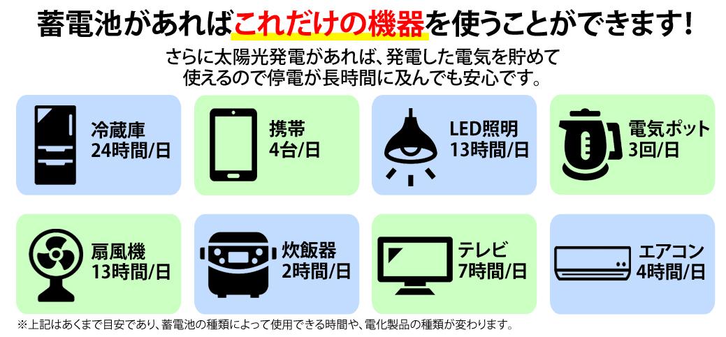 蓄電池で使用できる機器で一覧